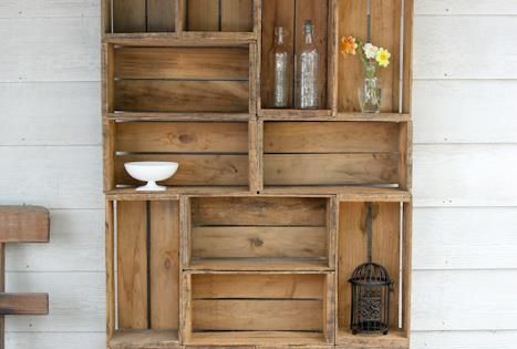 How to make shelves out of fruit crates antique perfume for Shelves made out of crates