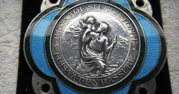 silver enamel rasumny plaque argent st christophe christopher voiture car badge ebay st. Black Bedroom Furniture Sets. Home Design Ideas