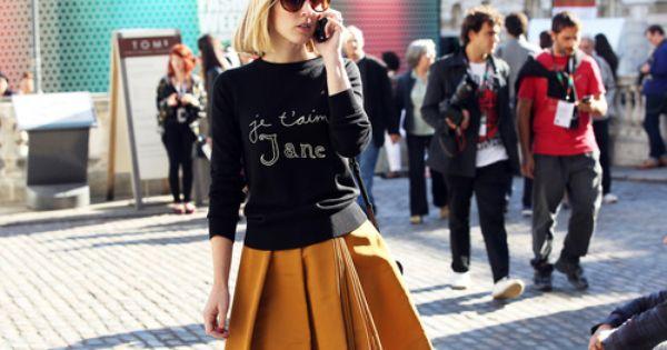 full skirt and sweatshirt