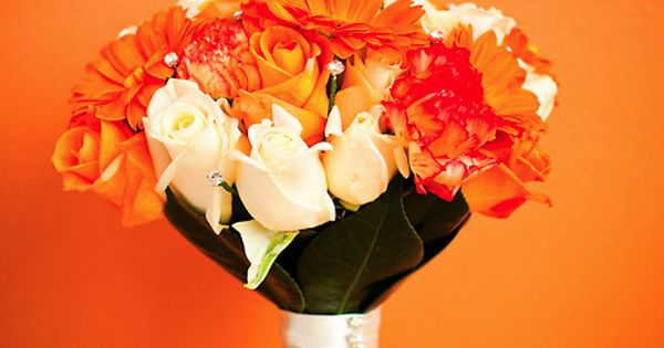 Orange and white flowers for my bouquet! :)