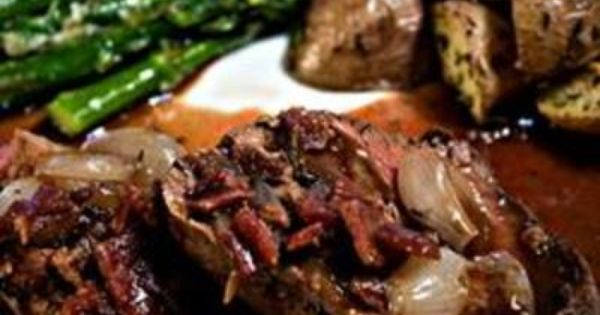 Beef Tenderloin With Roasted Shallots Recipe. Christmas dinner.