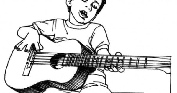 Boy Plays Guitar Coloring Pages For Boys Boy Coloring Coloring Pages For Kids