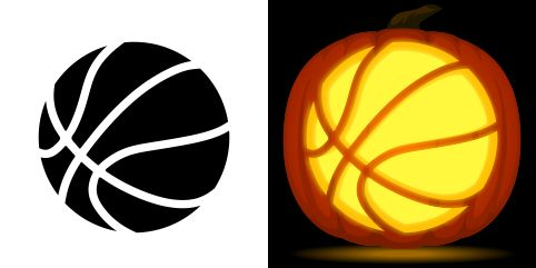 Basketball pumpkin carving stencil free pdf pattern to