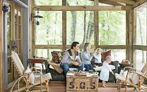 Cozy Cabin Porch The homeowners of this Tennessee cabin entertain their son