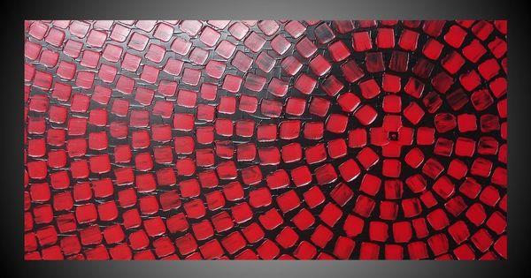 Details zu große acrylbilder rot schwarz mit quadrate auf ...