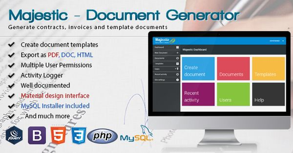 Majestic - Document generator from template Create custom - custom invoices