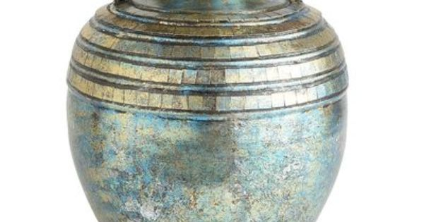 60 Pier 1 Turquoise Patina Mosaic Vase 11 25 Quot Dia X 15