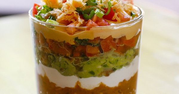 Seven layer dip -- great for a party so people don't have