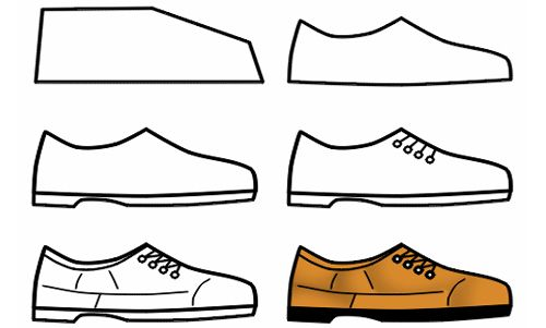 How To Draw Shoes Drawing For Children Cartoon Shoes Shoes Drawing Step By Step Drawing