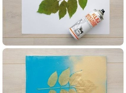 #DIY wall decoration leaf paint blue