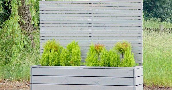 sichtschutz mit pflanzk bel blumenkasten holz grau ge lt sichtschutz lang pflanzkasten. Black Bedroom Furniture Sets. Home Design Ideas