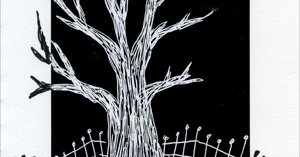 Art Projects for Kids: Positive / Negative Scratch Tree
