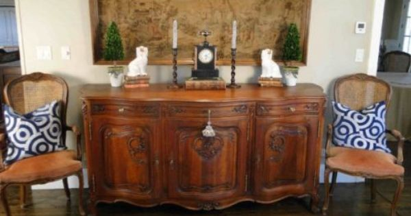 Antique French Buffet Sideboard Server Carved Oak Louis Xv Cabinet