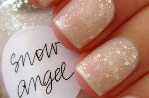 So pretty! Snow angel winter nail polish