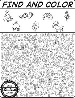 Find And Color Christmas Doodle Freebie Your Therapy Source Pediatric School Based Ot Pt