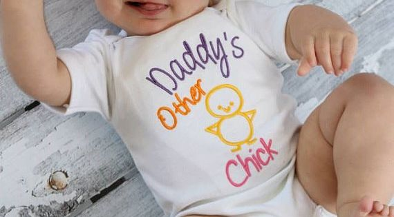 Baby Girl Clothes Embroidered with Daddy's Other Chick Embroidered Newborn Girl Take