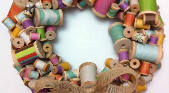 Thread Spool Wreath With A Burlap Bow, this will be in my