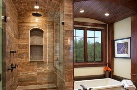 Arched stone shower and sunken tub | dreamhouse | bathroom | shower