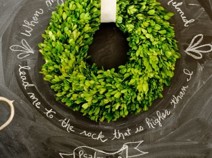 Wreath on Chalk Board. Love the scripture around office ideas working design