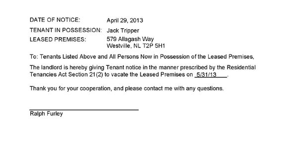 Sample Lease Termination Letter To Tenant: NL Termination Notice For Damage To Premises