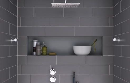 modern shower with dark grey tiles and niche - this looks so