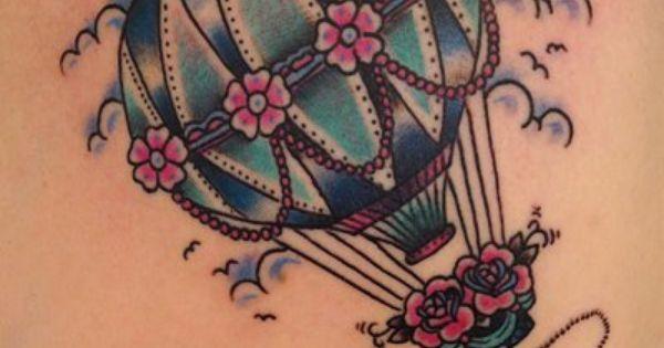 Hot air balloon with anchor tattoo
