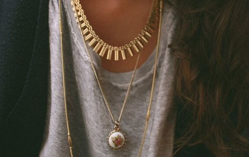 Layered gold necklaces / jewelry / gold / accessories