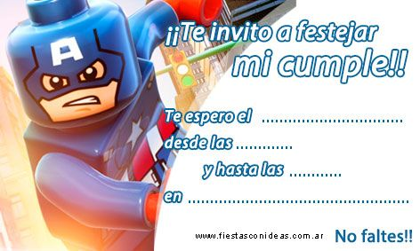 Capitán América Lego Tarjeta De Cumpleaños Para Imprimir