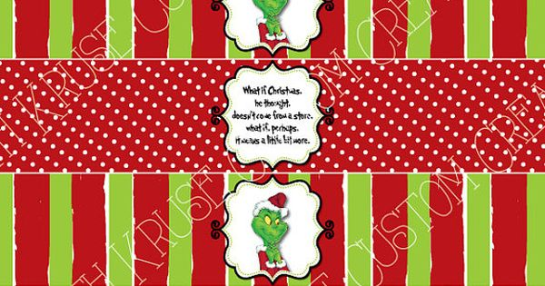 grinch water bottle labels (printable) on Etsy, $4.00 ...