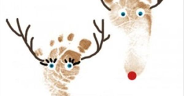 Reindeer feet Reindeer BabyFeet FootPrints ChristmasCraft Holiday Christmas Project Baby Infant Gift