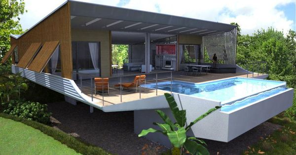 A way to handle a pool on a sloped lot slope houses for Pole house piscine