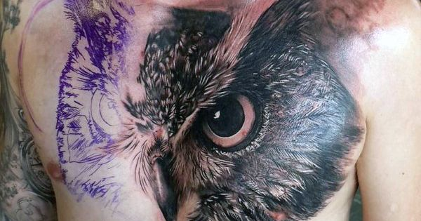 man with realistic 3d owl tattoo on chest tattoosss pinterest owl chest tattoos chest. Black Bedroom Furniture Sets. Home Design Ideas