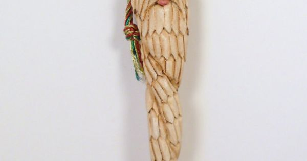 Hand carved wooden santa icicle ornament by