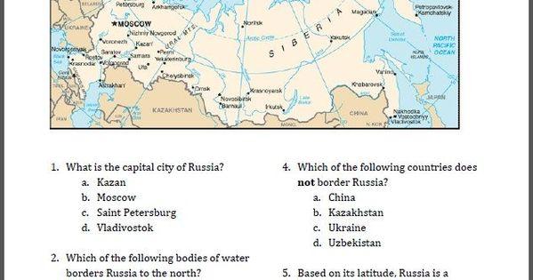Russia Map Worksheet Free To Print Pdf File