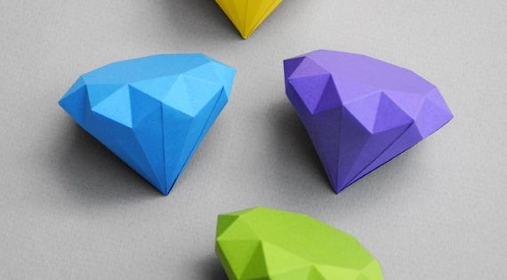 How to make 3D paper diamonds paper art craft tommykho