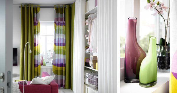 schlafzimmer mit ikea gardinen und meterware u a mit mariam gardinen in gr n enje rollo in. Black Bedroom Furniture Sets. Home Design Ideas