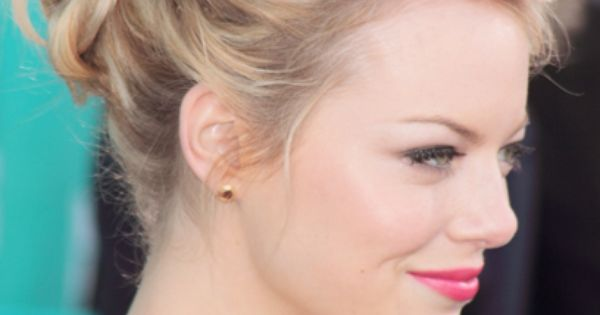 Emma Stone's twisted updo--I must learn this