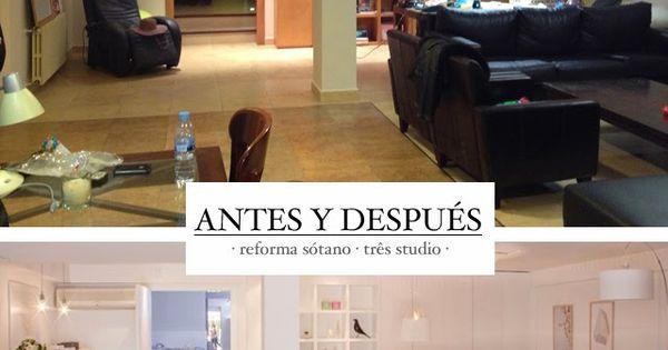 Reforma tres studio antes despues sotano chalet estilo for Muebles nordicos valencia