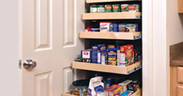 kitchen pantry closet with roll out drawers