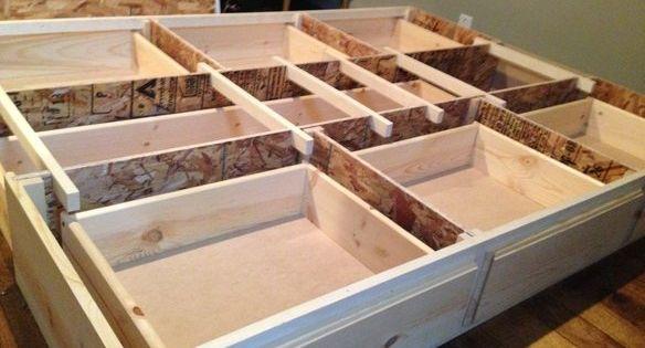 Best Queen Storage Bedframe New Pine 7 Drawer