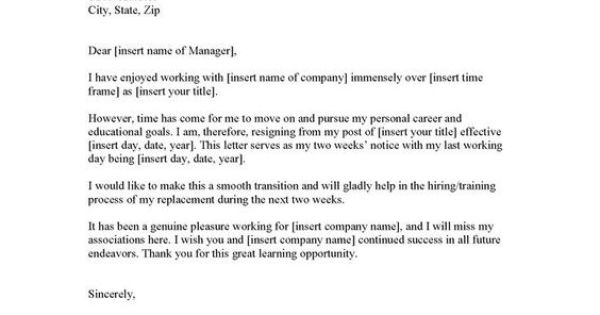 Printable Sample Letter Of Resignation Form 2 Weeks