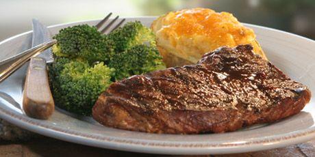 Bbq Steak With Stuffed Potatoes And Broccoli Recipes Food Network Canada Recipe Bbq Steak Food Network Recipes Bbq Recipes
