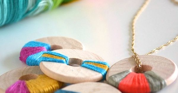 Wooden jewelry is everywhere this summer! If youa??re ready to hop on the trend, get inspired with this DIY wooden jewelry from Maria at See That There. In her po | See more about Wooden Jewelry, Embroidery and Jewelry.