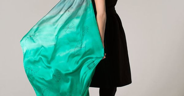 Emerald green satin shawl painted by hand long grey by for Emerald satin paint