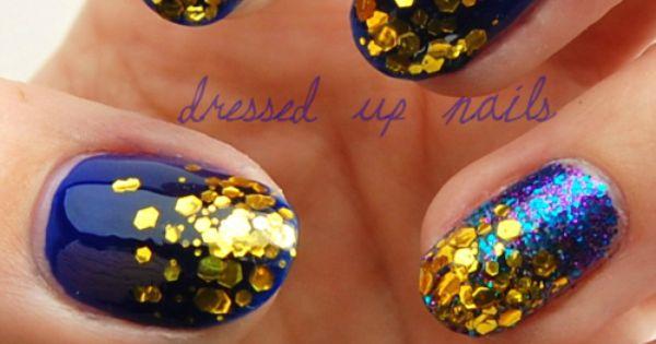 Gold flecks on cobalt = nail ♥
