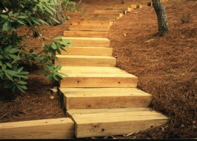 Pin By Jennifer Hauck On Cabin Living Landscape Timbers   Outdoor Timber Stairs Design   Pinterest   Outside Entrance Stair   Basic Outdoor   Different Style   Rustic Timber