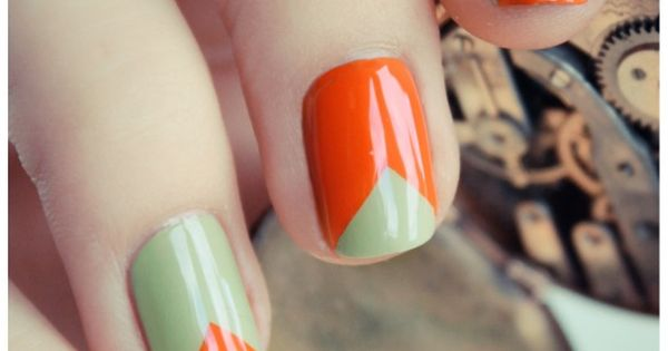 Orange & Green Nail Art