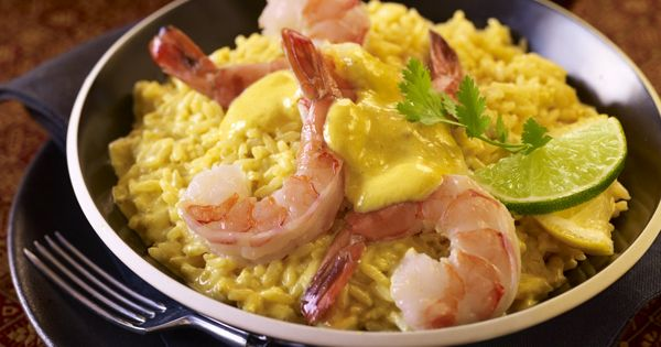 Poached Tiger Shrimp with Sweet Curry Dip & Basmati Rice. Recipe at ...