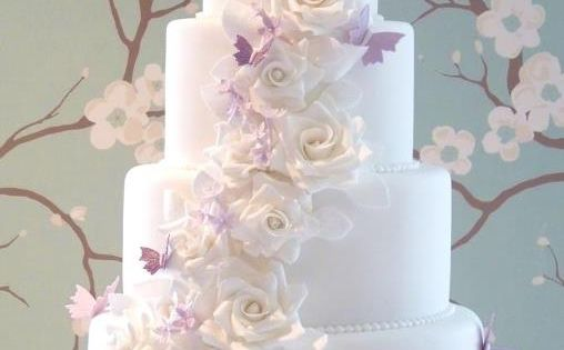The Louise Cake with white sugar roses and lilac butterflies by Rachelle's