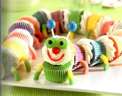 Little Kids Birthday Cupcake - Caterpillar Cupcake